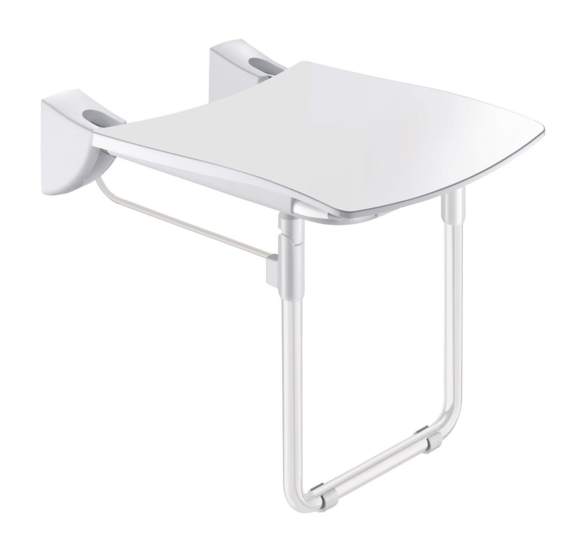 Siège de douche relevable avec pied assise grand confort nylon HR brillant blanc réf. 510430N