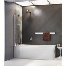 Pare-bain IRIO bord carré, pliant, 2 volets pivotants à 180°, relevable
