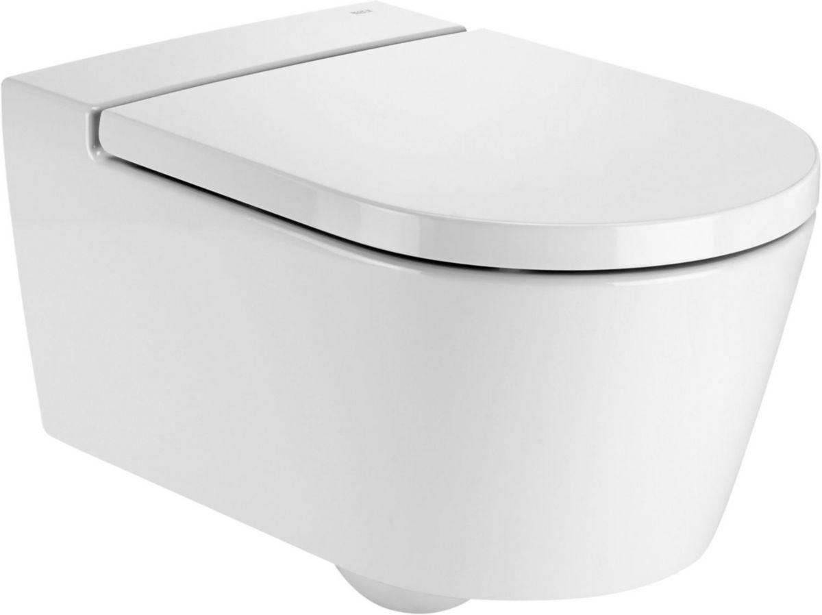 wc suspendu inspira round rimless 56 x 37 blanc r f a346527000 roca. Black Bedroom Furniture Sets. Home Design Ideas