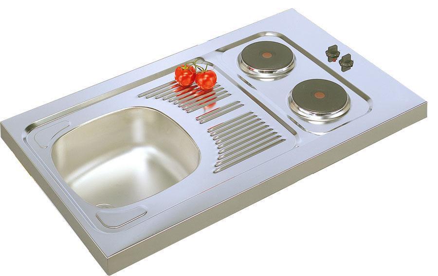 Evier cuisinette en inox 18 / 10, hauteur 5 cm, 1 cuve, 2 plaques électriques intégrées puissance totale 3000 Watts, vidage complet, bonde d