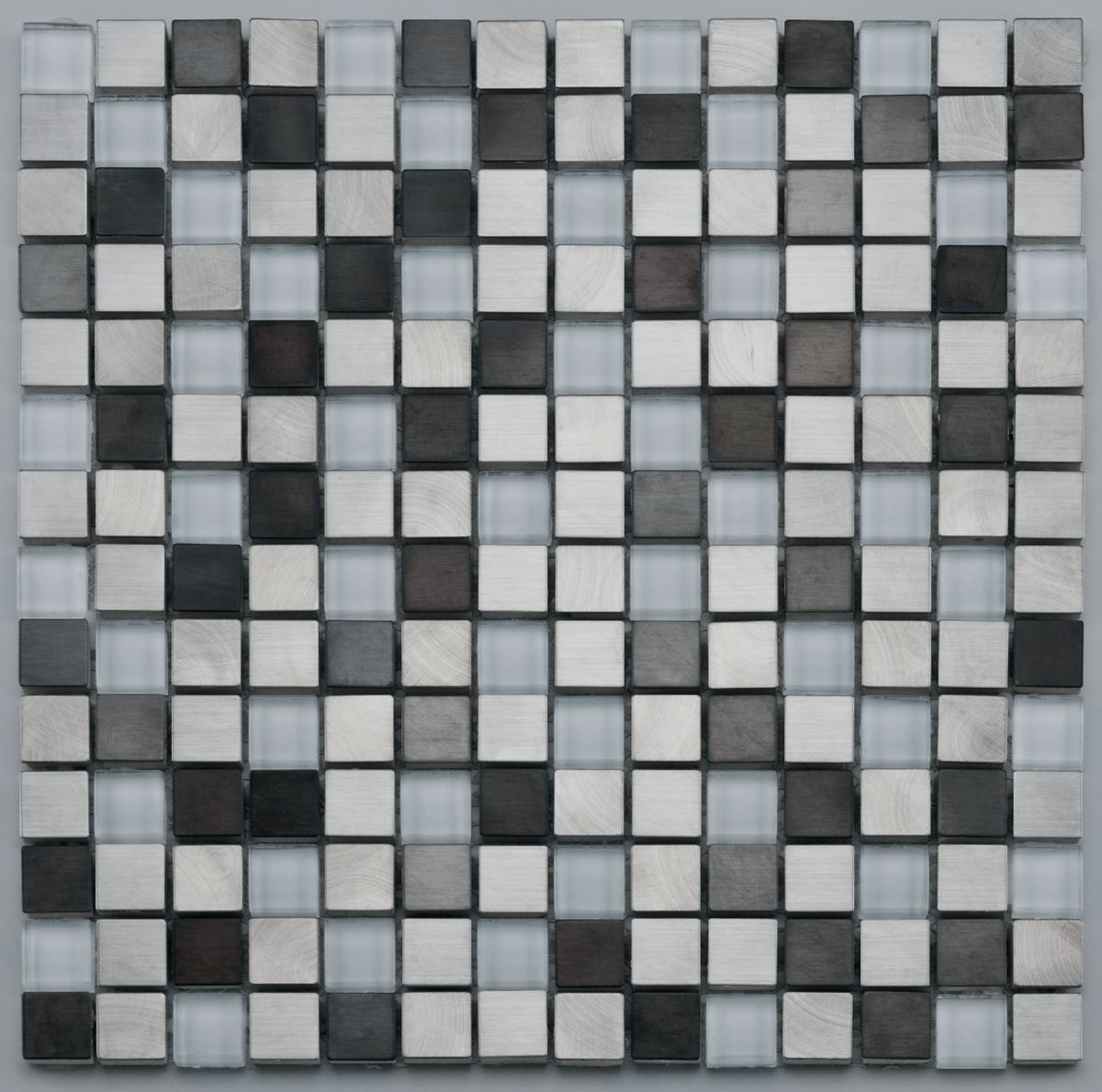 Mosaïque 30,5x30,5 cm pâte de verre et métal - Pixel White Metal Mix - tesselles 1,9x1,9 cm