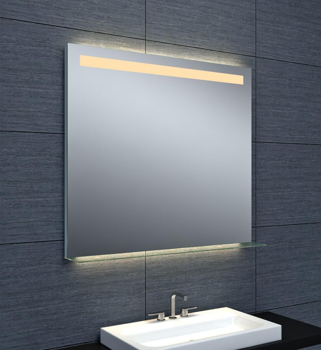 Miroir Dubai éclairage LED avec tablette en verre 90 x hauteur 80 cm ...
