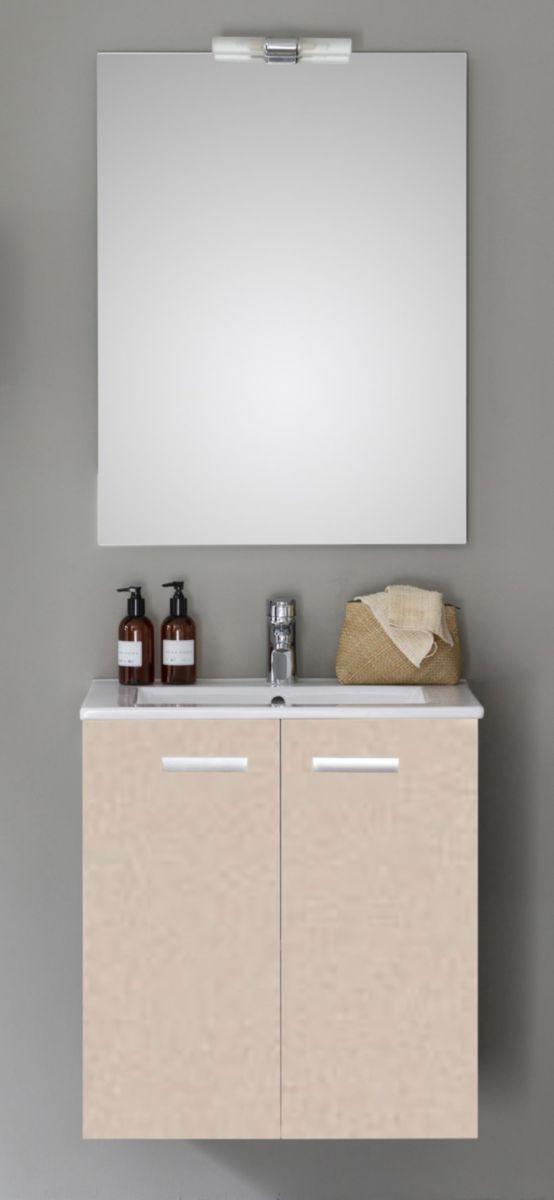 meuble woodstock 2 portes argile 60 cm alterna sanitaire brossette