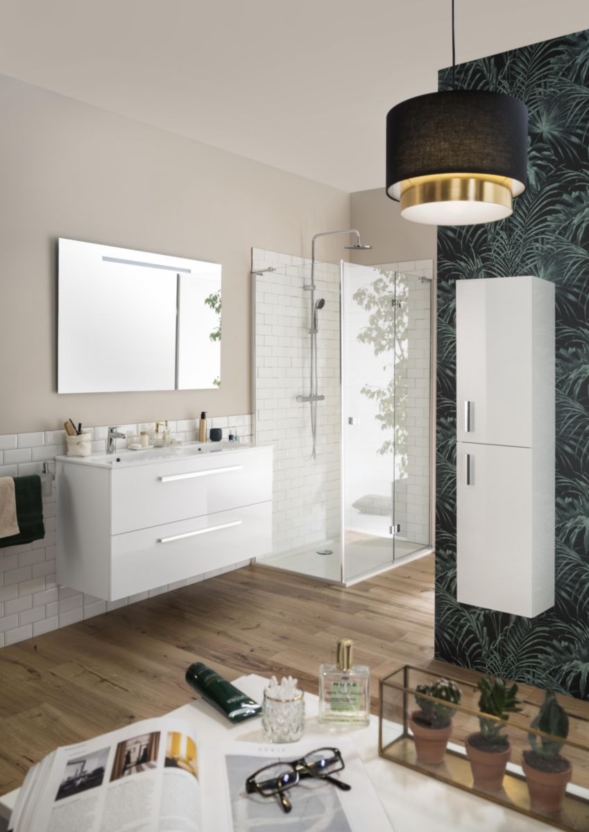 Meuble woodstock 120 cm 2 tiroirs blanc brillant alterna - Meuble salle de bain woodstock ...
