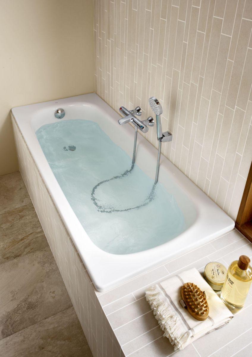 baignoire acier contesa 1700 mm blanche cuve seule perc e 1 trou d35 mm r f a2358k6000 roca. Black Bedroom Furniture Sets. Home Design Ideas