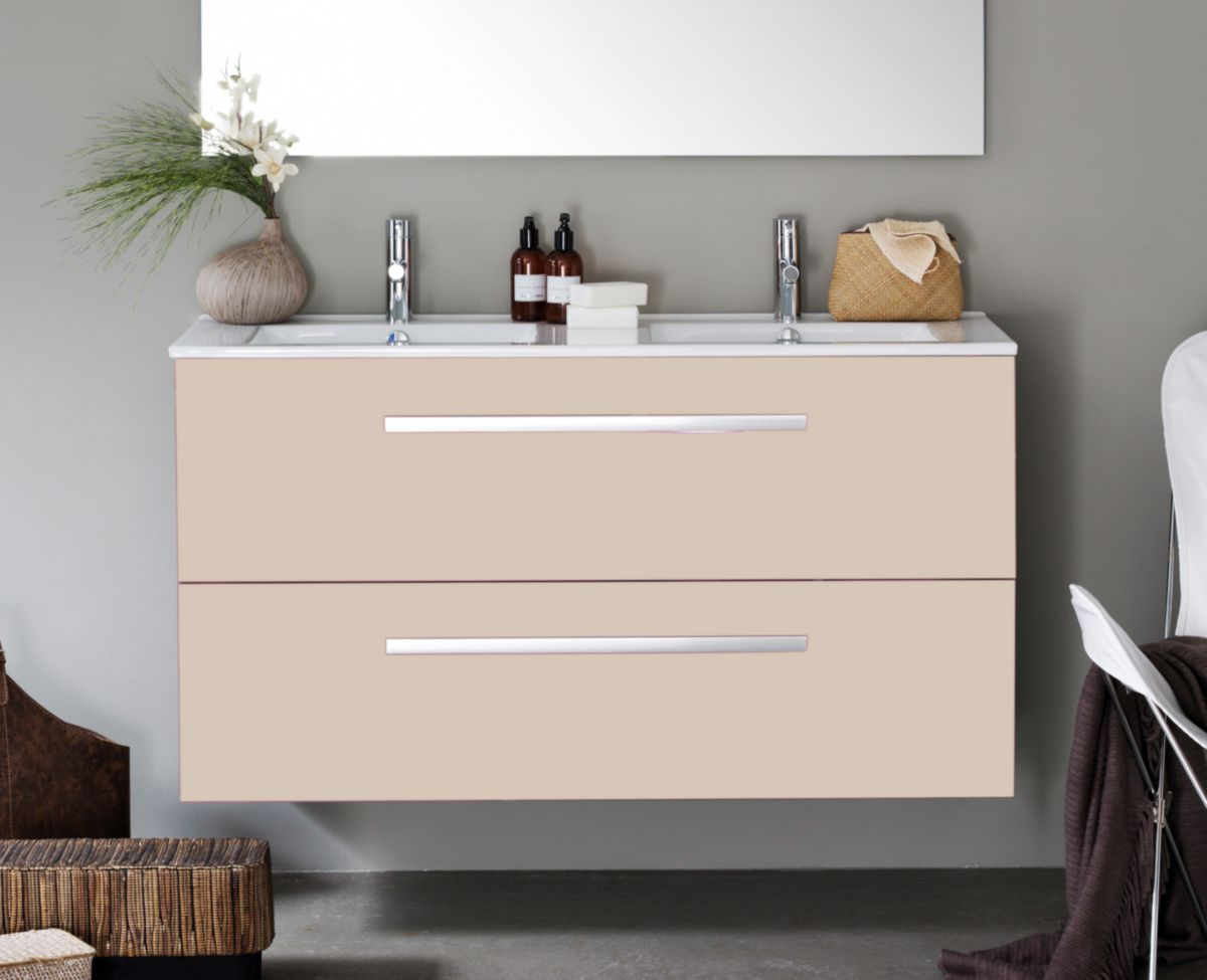 Meuble woodstock 2 tiroirs argile 120 cm alterna - Meuble salle de bain cedeo ...