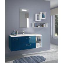 meuble sous vasque seducta 30 cm niche bleu pétrole brillant ... - Salle De Bain Bleu Petrole
