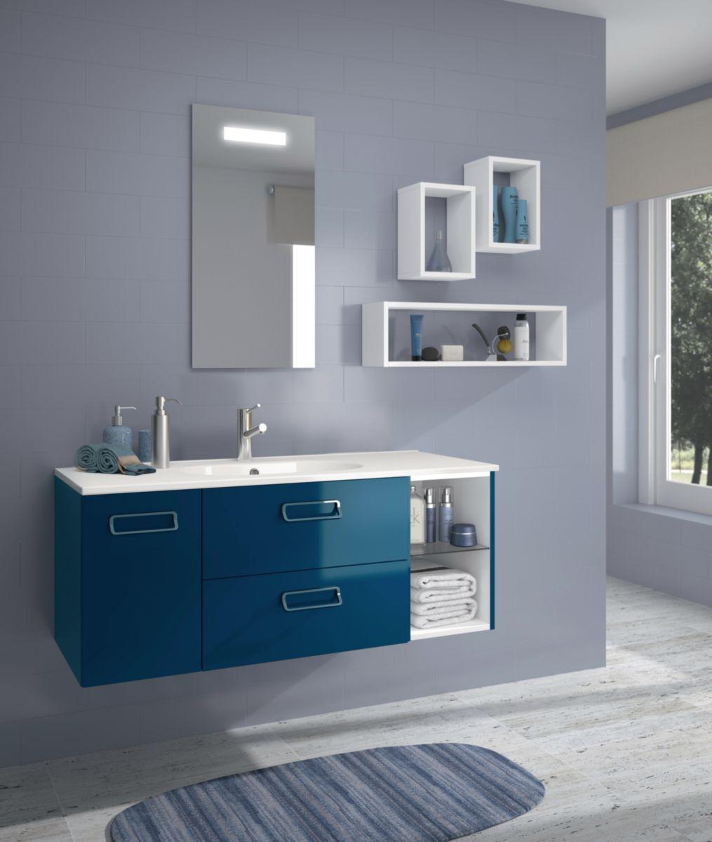 Meuble sous vasque Seducta 30 cm niche bleu pétrole brillant