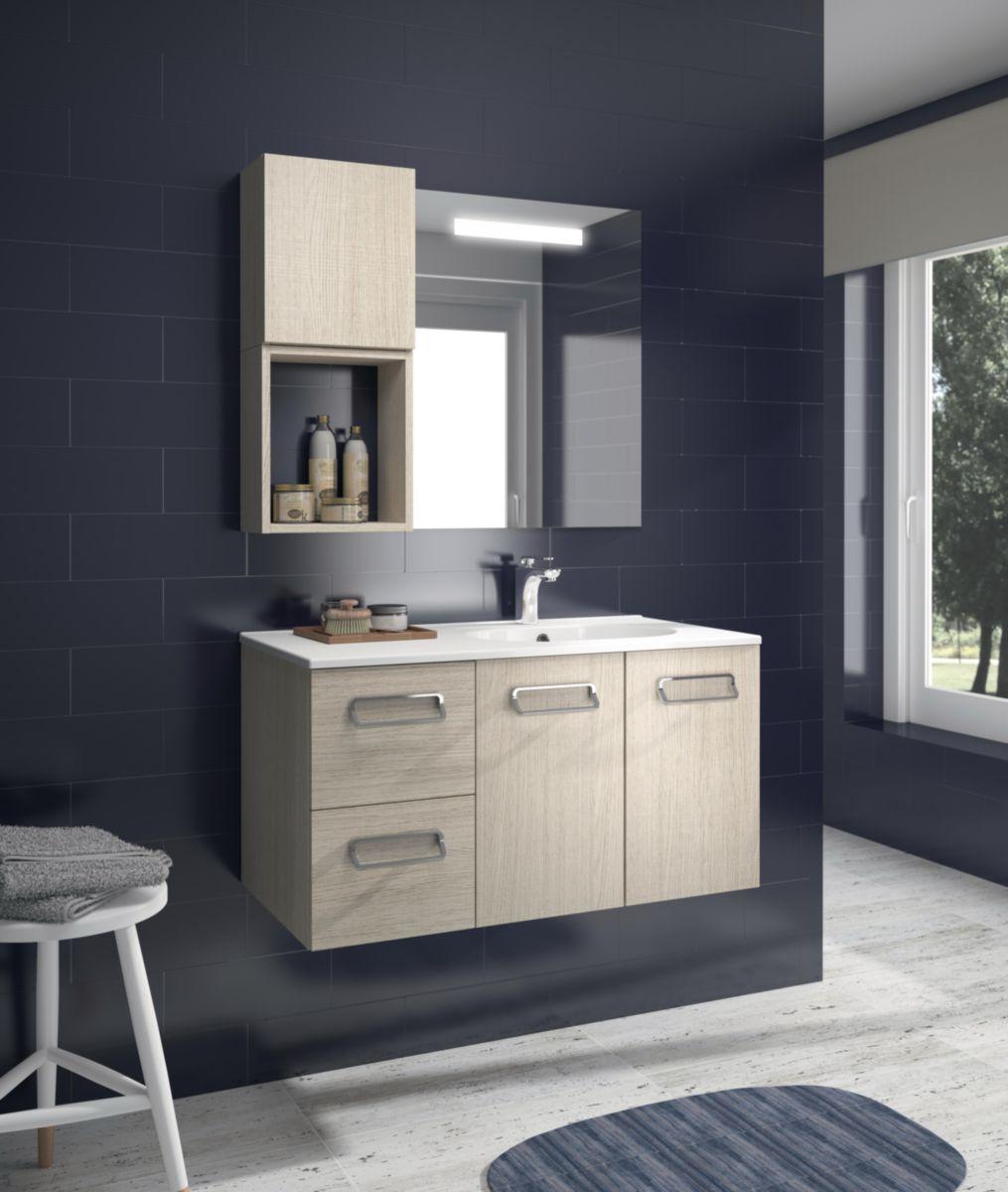Alterna meuble sous vasque seducta 30 cm 2 tiroirs fr ne clair cedeo - Meuble salle de bain cedeo ...