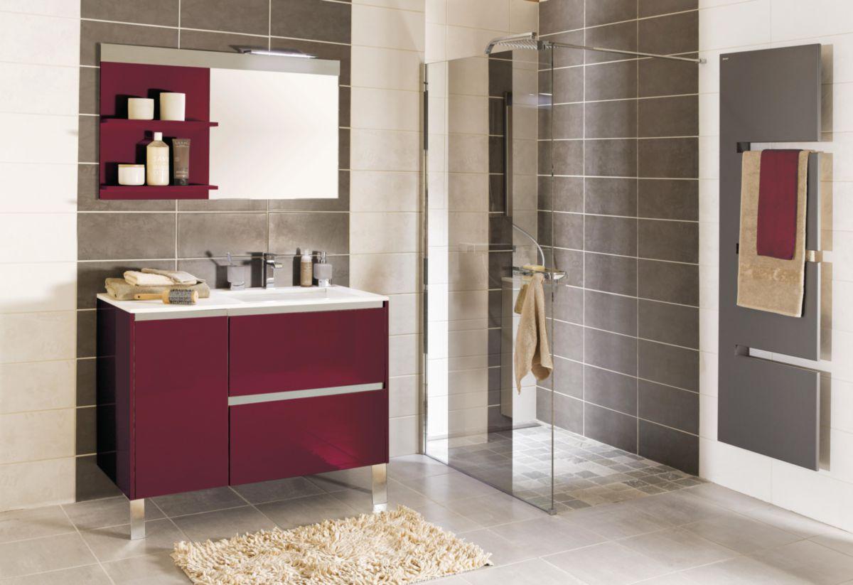 Meuble sous-vasque PLENITUDE 105 cm 2 tiroirs 1 porte pour vasque droit profondeur 50 cm rouge, poignée titane