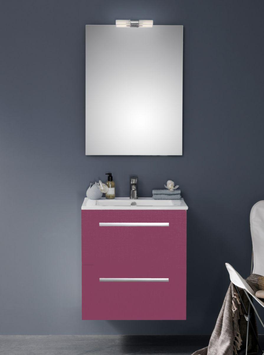 meuble woodstock 2 tiroirs fuschia 90 cm alterna sanitaire cedeo