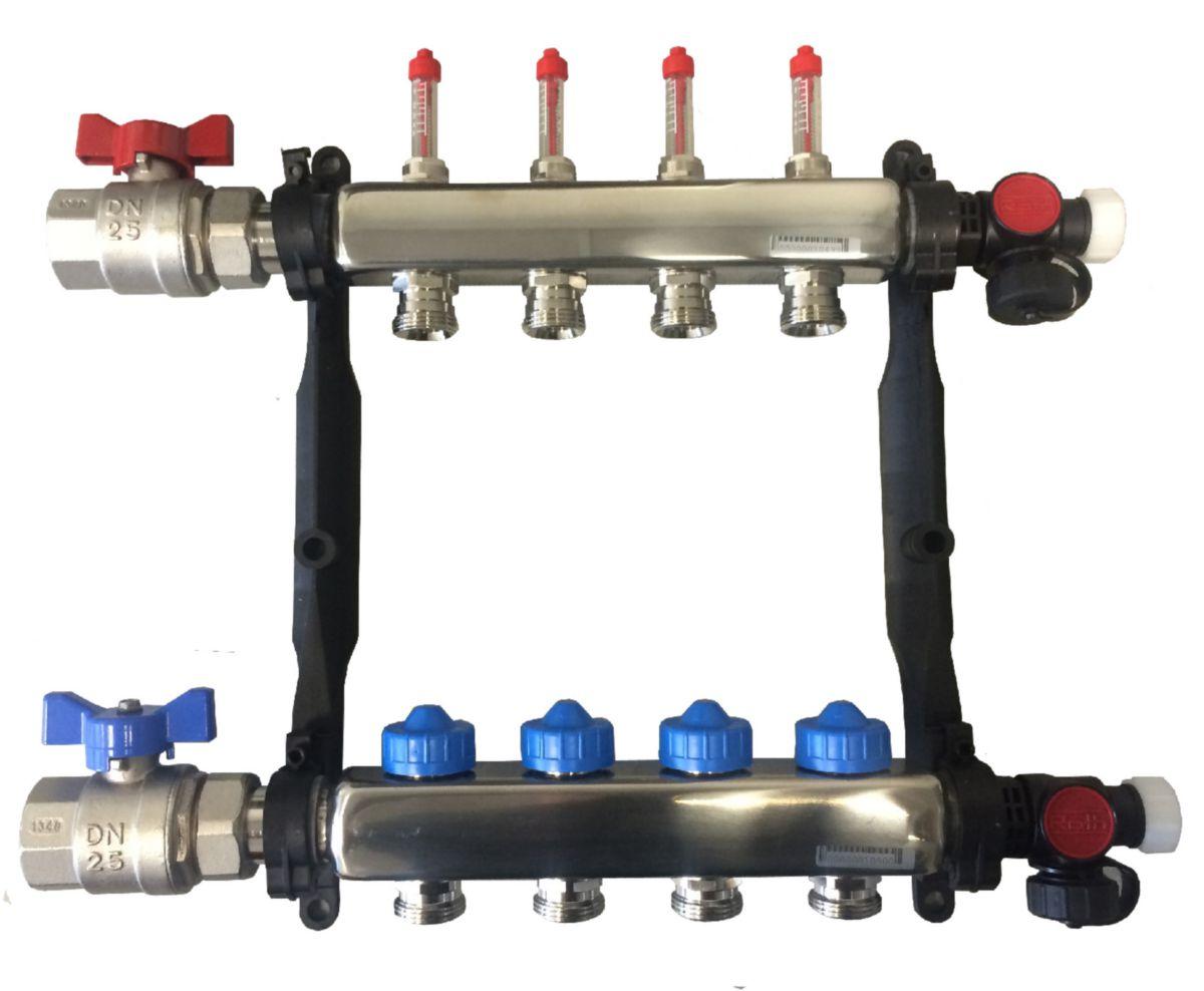 Collecteur inox 1'' - 10 circuits avec débitmètre réf. 1409031510