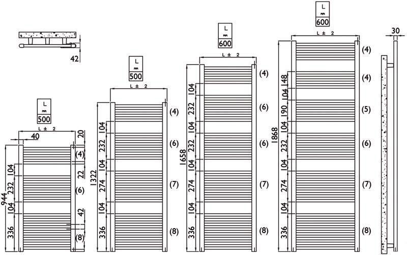 Sèche-serviettes PRIMEO 2 eau chaude 1322 x 600 mm blanc 703 watts