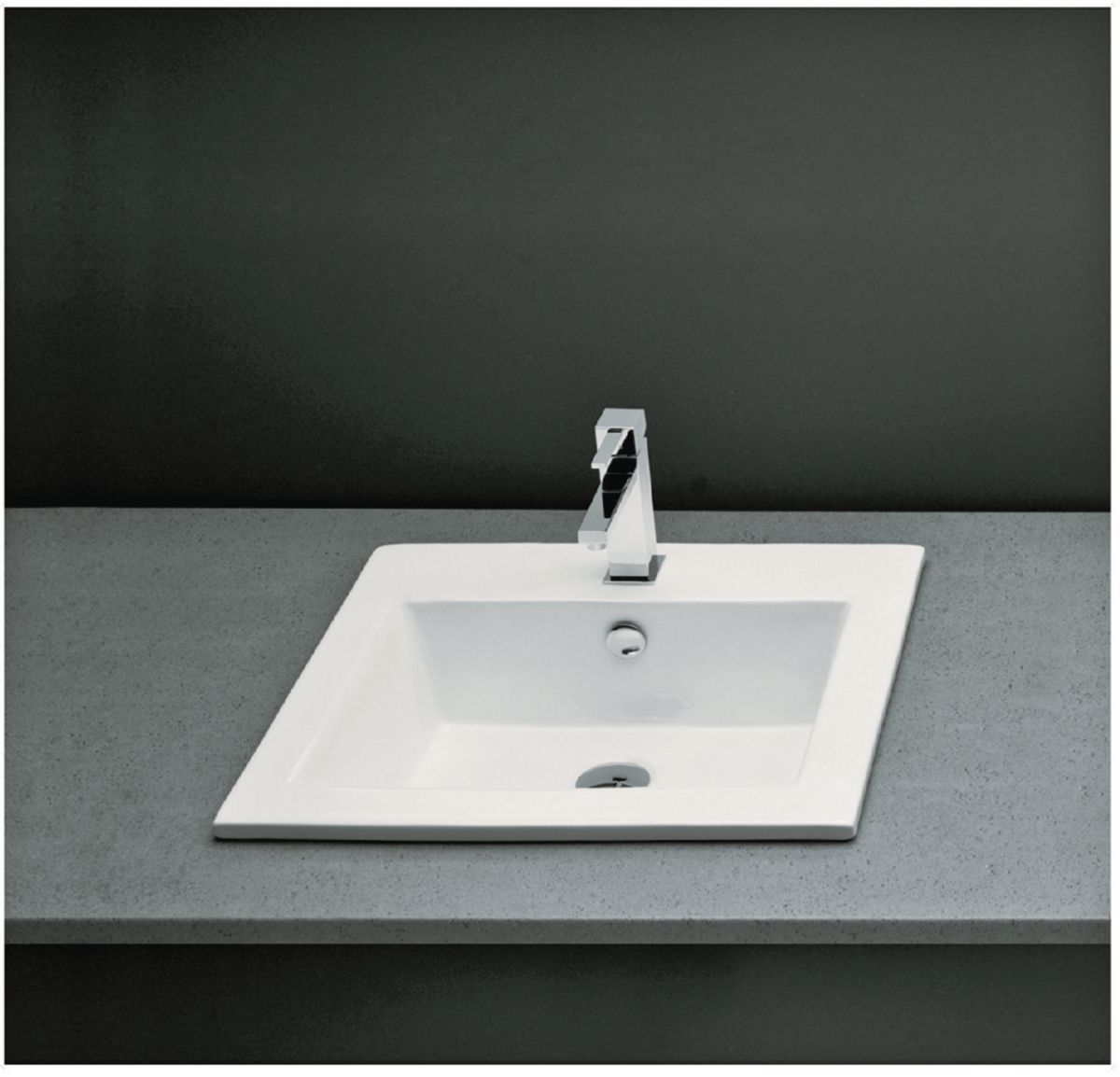 Vasque à encastrer rectangulaire avec trop plein MANTERA 50 x 43 cm  Céramique blanc