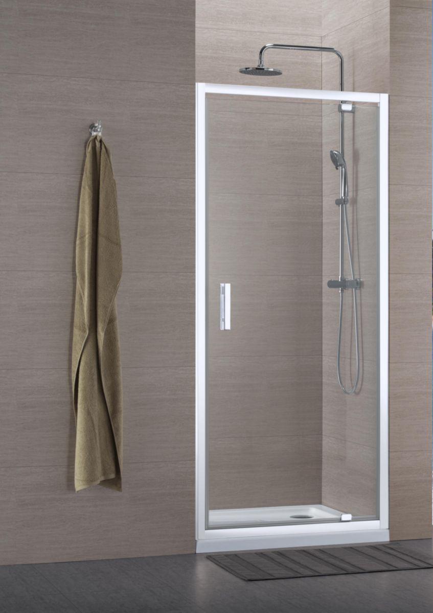 alterna paroi de douche concerto acc s de face porte pivotante 70 x 70 cm profil blanc verre. Black Bedroom Furniture Sets. Home Design Ideas