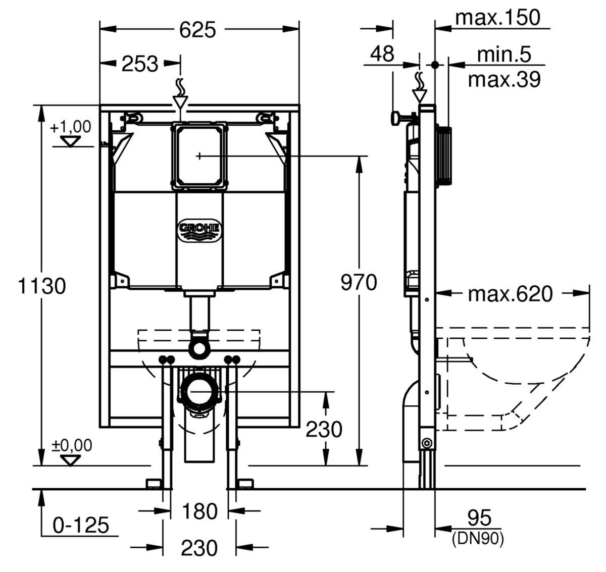 Bâti support RAPID SL pour WC 6L hauteur: 1,13m réf. 38994000