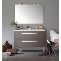Meuble 2 tiroirs 120 cm woodstock laqu blanc alterna for Cedeo meuble salle de bain