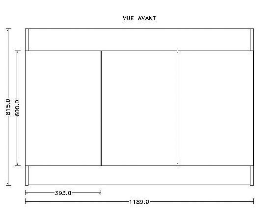 Sous-évier SIM'NF. mélaminé blanc. 3 Portes réf. S12N03120