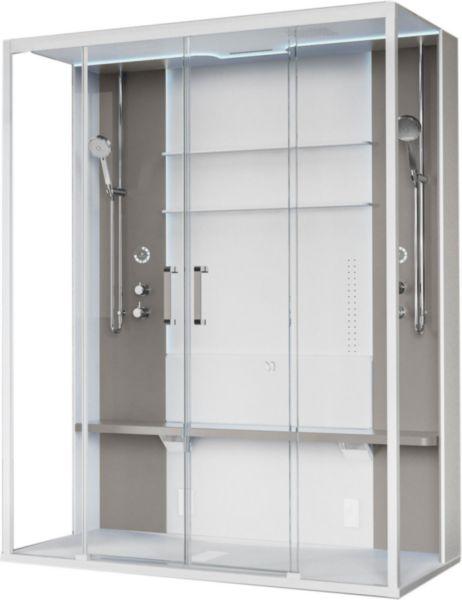 Cabine de douche avec hammam Skill 2A 160x97 en verre transparent blanc doux bandeaux et siège perla (receveur bas) réf. SKI2A160T5-1UN3