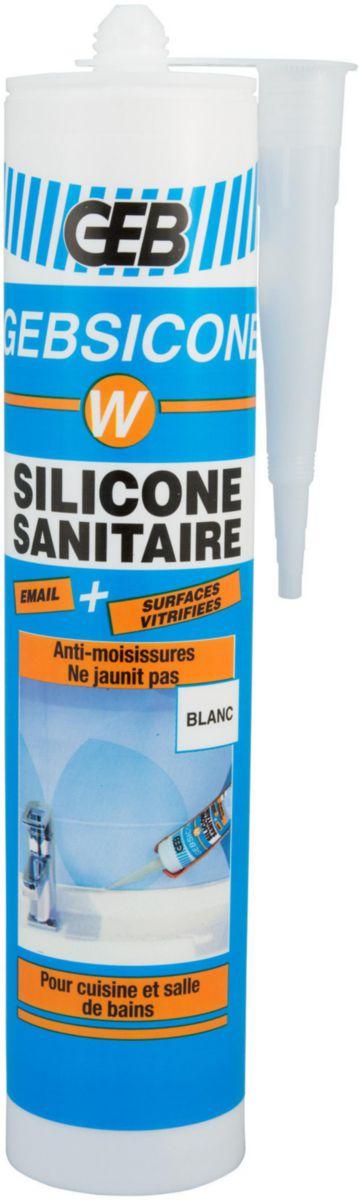Mastic silicone acétique GEBSICONE W mastic 100% silicone d'étanchéité cartouche 310ml blanc réf 893150