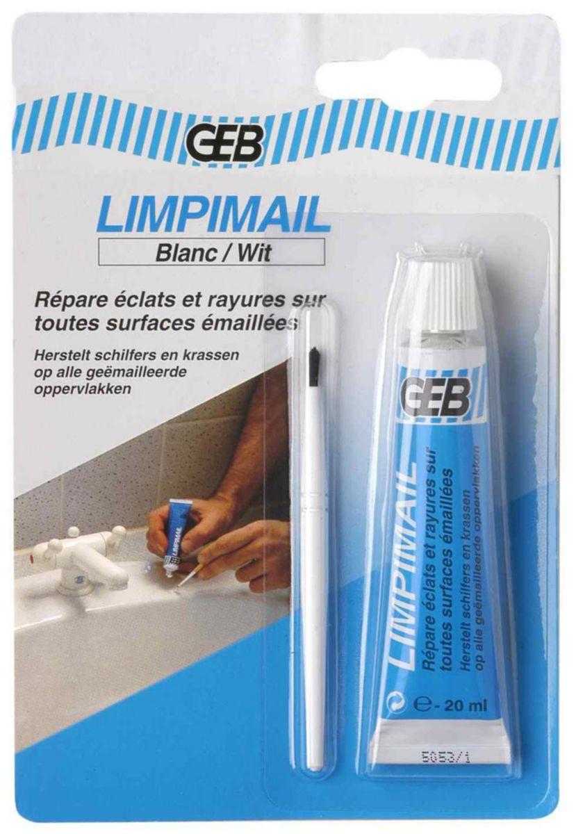 Pâte de réparation éclats émail blanc LIMPIMAIL Tube 20 ml/blister réf 956831