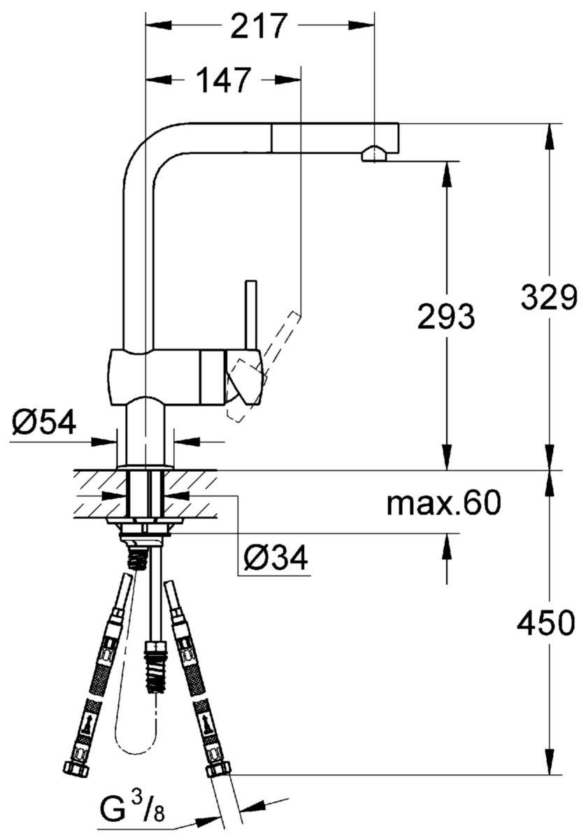 Mitigeur évier MINTA monocommande 15 x 21, monotrou, bec l tubulaire orientable, mousseur extractible, clapets anti-retour intégré, chromé r