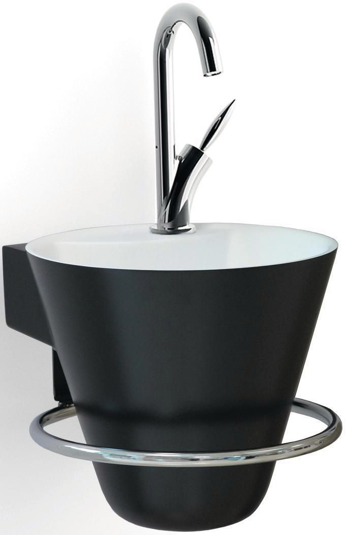 Pack 2 pièces lave-mains cône solid surface noir brillant (lave-mains + porte serviettes) Réf. 114704200005