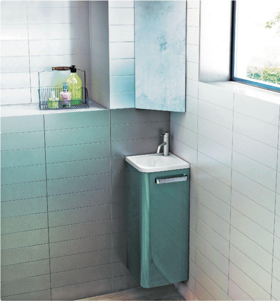 DECOTEC - Meuble lave mains d\'angle Jazz 30,5 x 30,5 x 75 cm laque ...