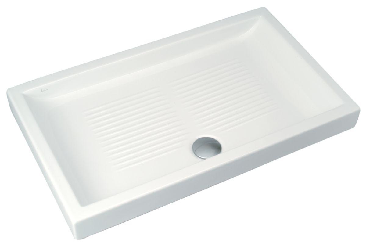 Receveur de douche poser unah 120 x 70 cm en c ramique blanc r f j350901 porcher - Receveur de douche 70 x 120 ...
