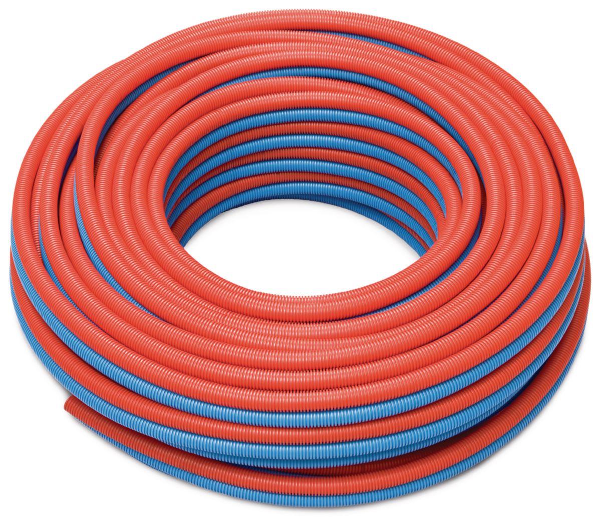tube per pr gain d16 double bleu ou rouge 50m gaine annel e ict pp r f 11396301050 rehau. Black Bedroom Furniture Sets. Home Design Ideas