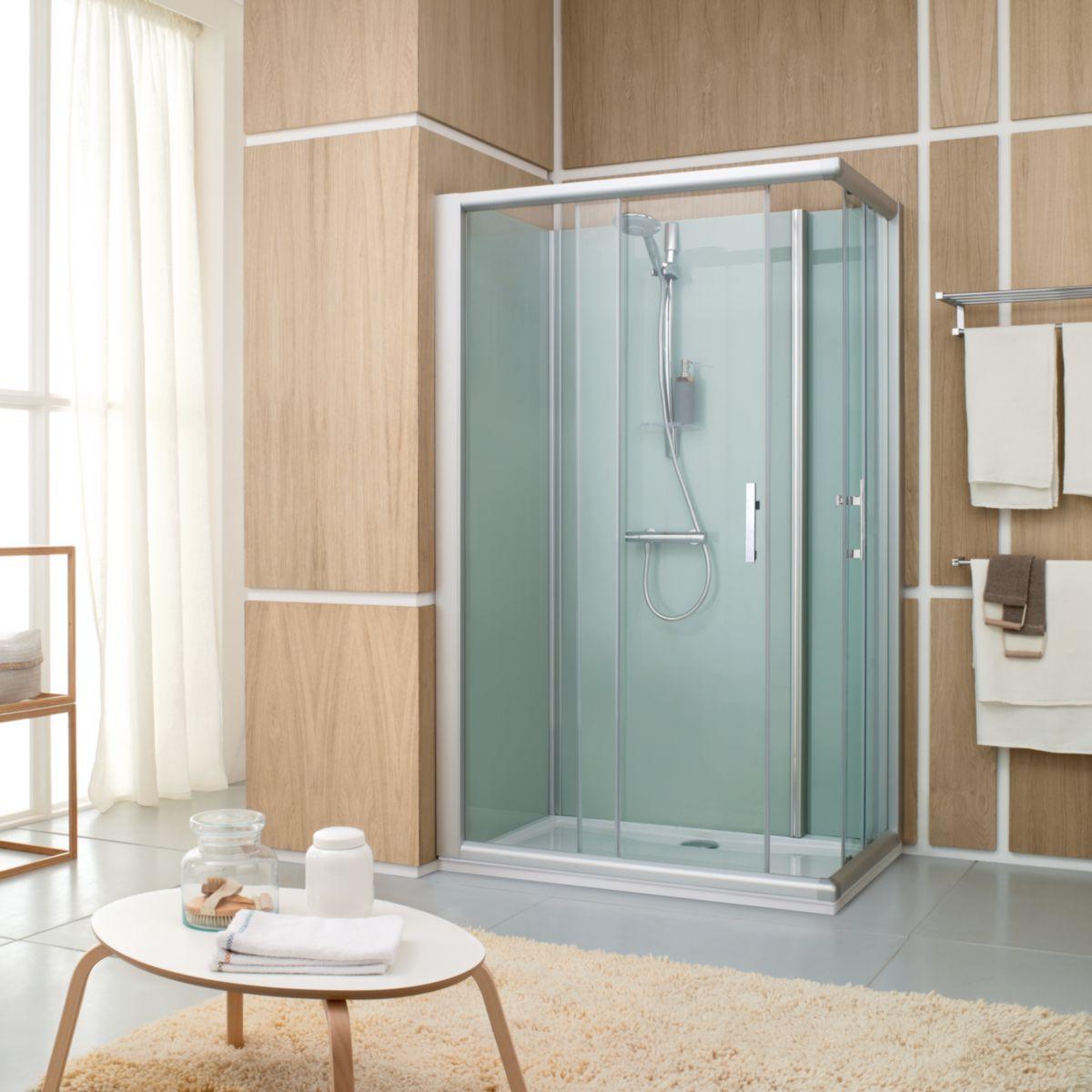 Cabine de douche fermée Access Confort 120x80 mm angle porte coulissante à verre transparent gris réf. L11AC4R1802