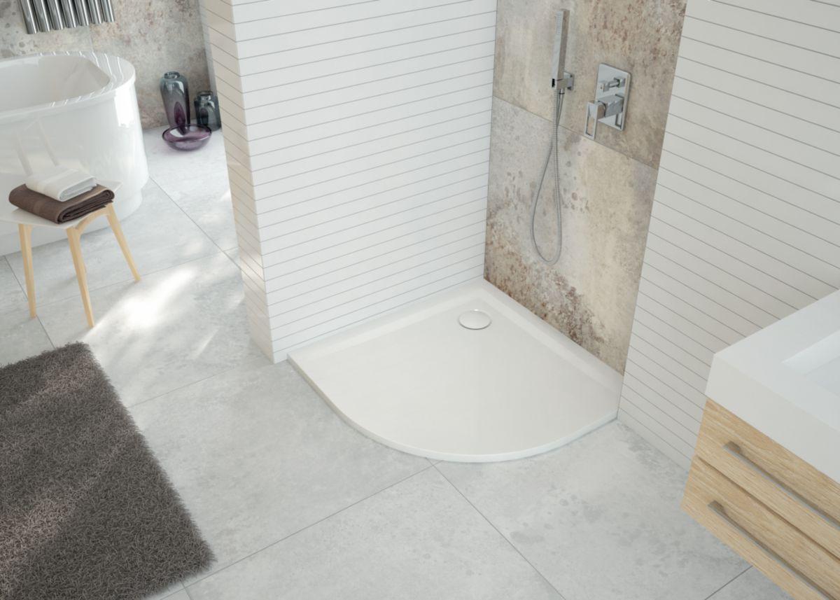 Poser Un Quart De Rond Carrelage receveur quart de rond space minéral 90x90 blanc antidérapant réf.  l12sm3r1090ad