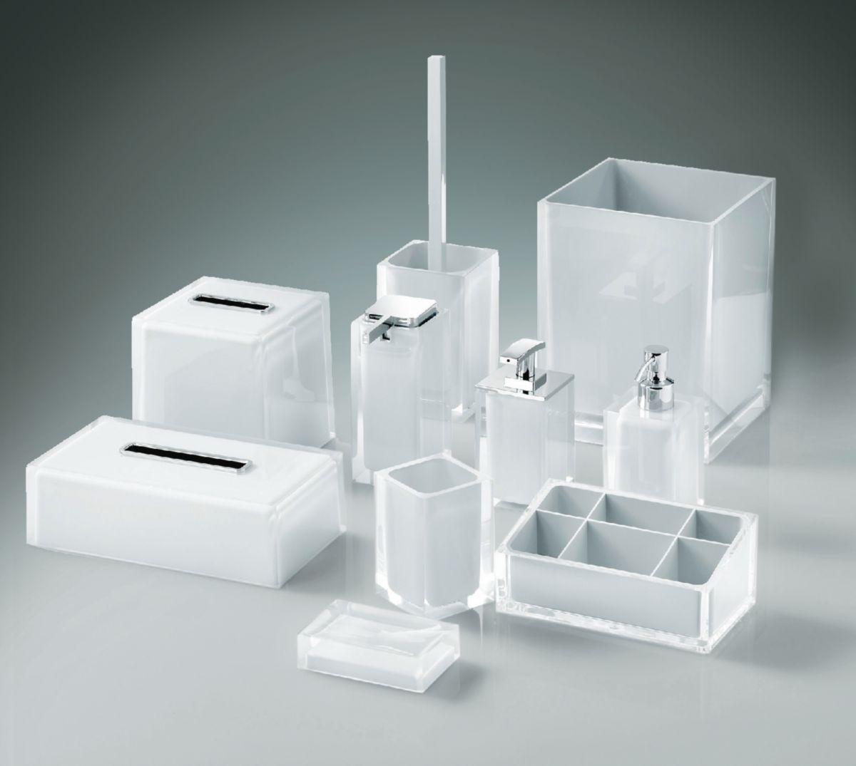Distributeur de savon avec distributeur en metal chrome a poser blanc réf. RA810200200