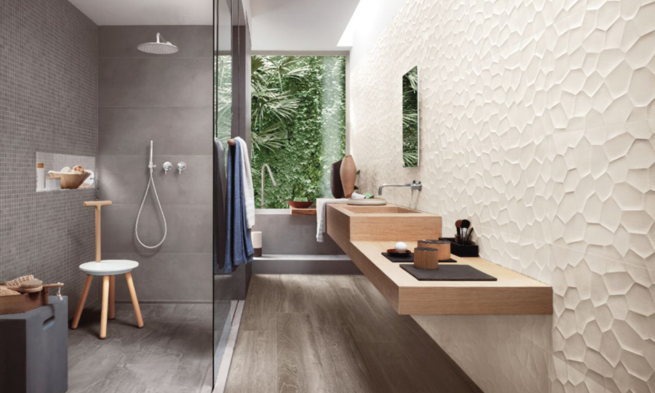 Salle de bain bois et pierre Envie de salle de bain avec fenêtre sur jardin