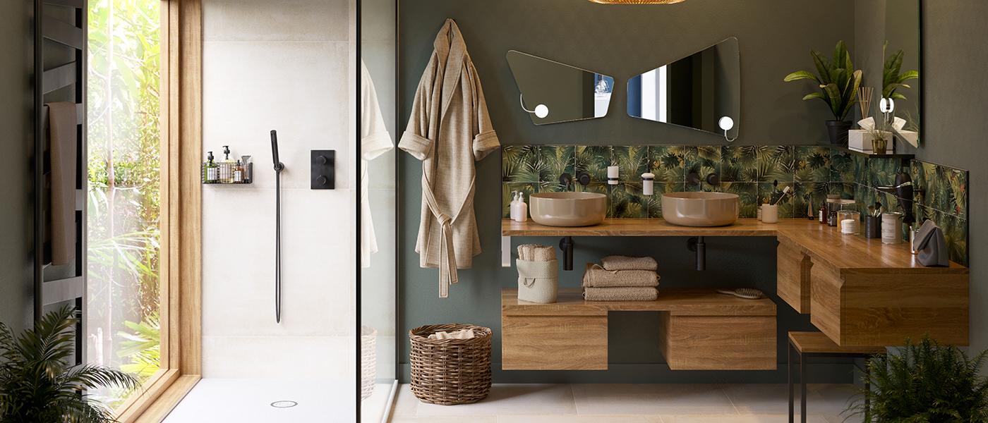 Salle de bain verte de style exotique CEDEO avec meubles bois et douche donnant sur la nature