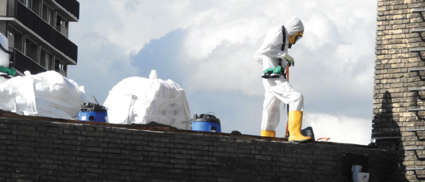 Professionnels équipés de combinaison sur un toit