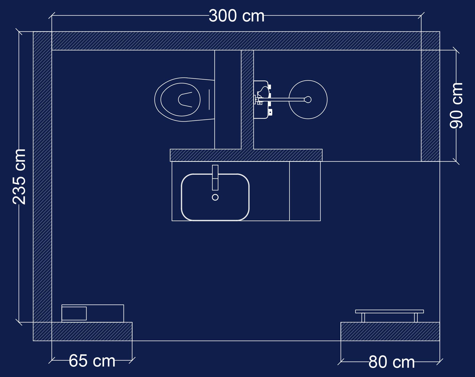 Plan 2D salle de bain Intime en T
