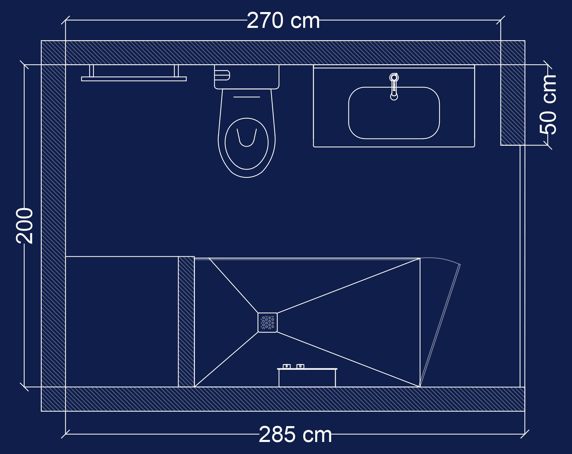 Plan 2D salle de bain Sous les toits
