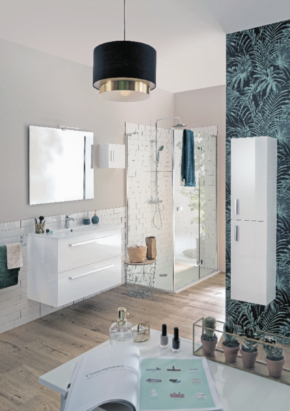Meuble salle de bain WOODSTOCK blanc brillant 90 cm