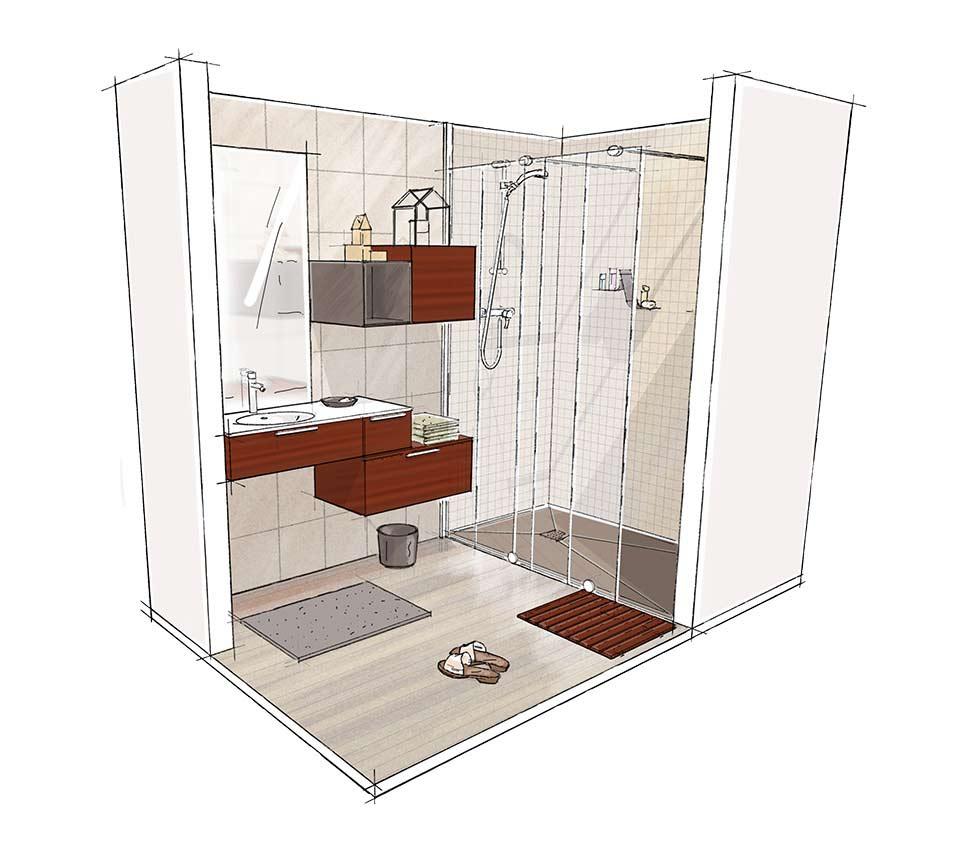 Croquis 3D salle de bain Access