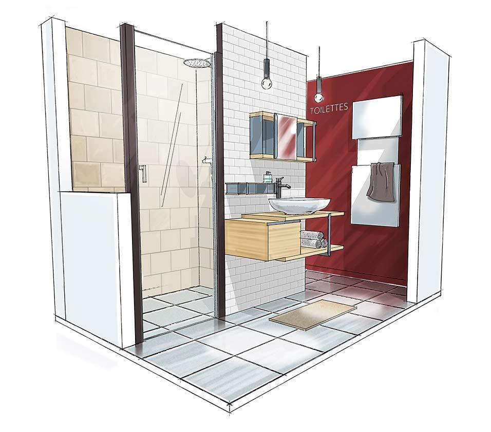 Croquis 3D salle de bain Intime en T