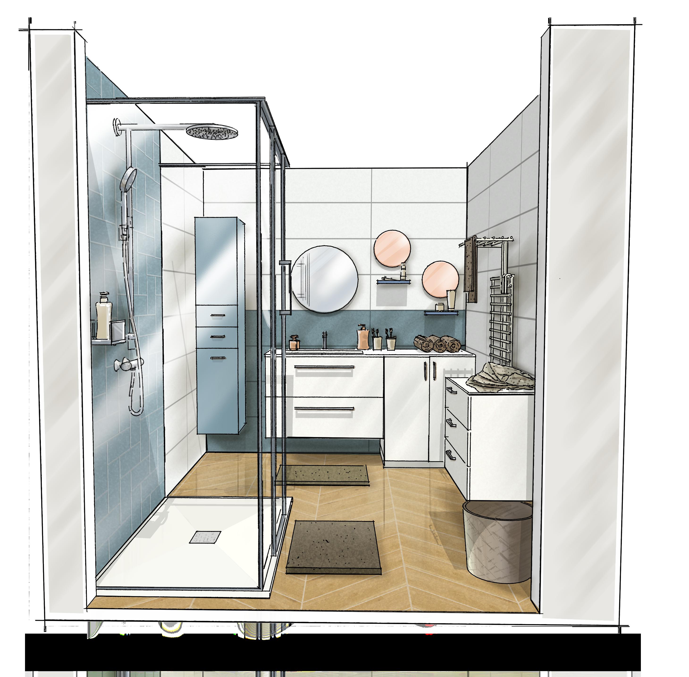 Croquis 3D salle de bain Cache machine