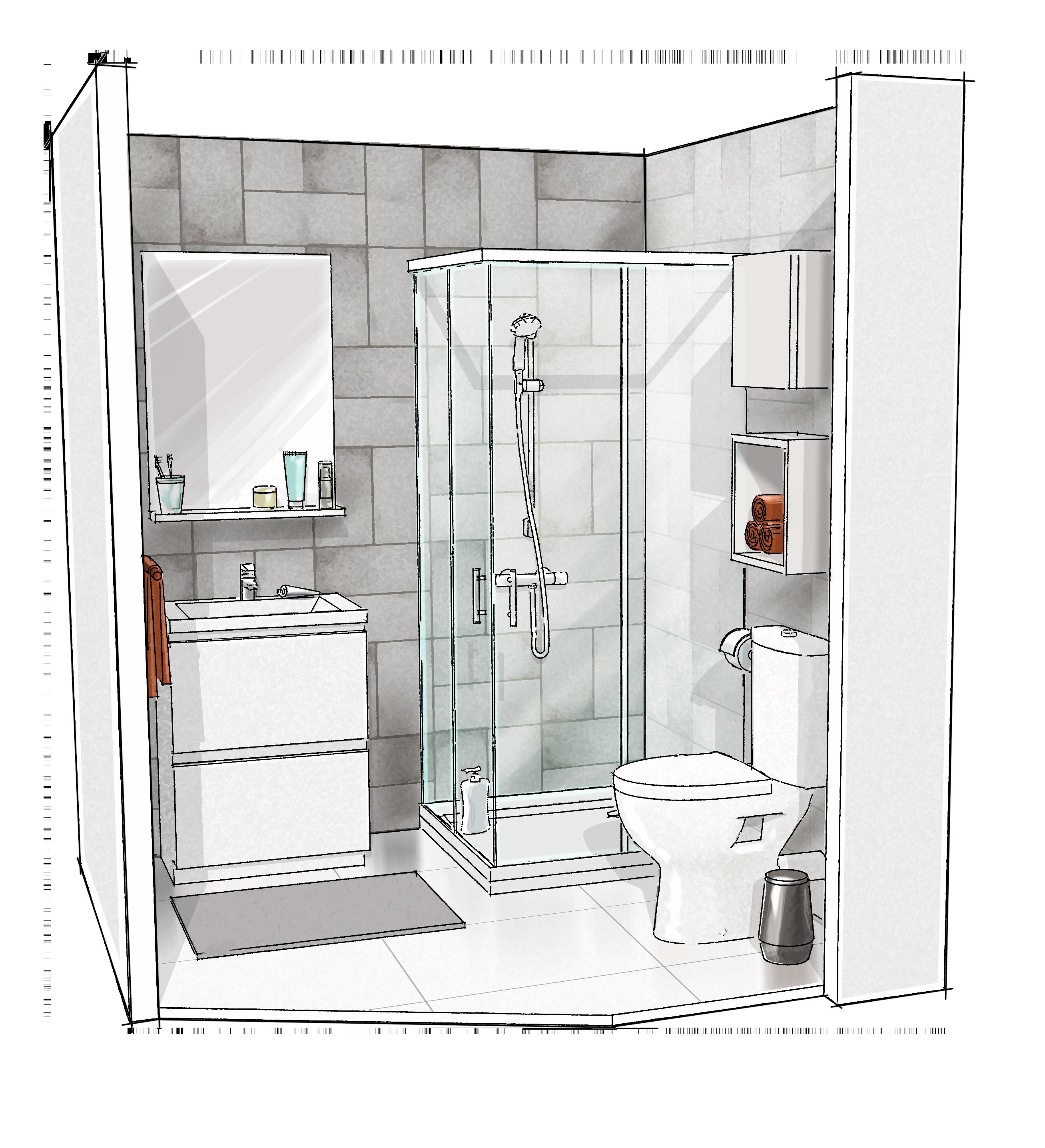 Croquis 3D salle de bain Economique