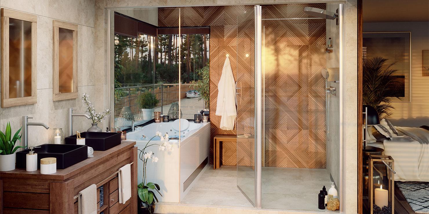 Salle de bain style Exotique déclinée en solution Bien-être