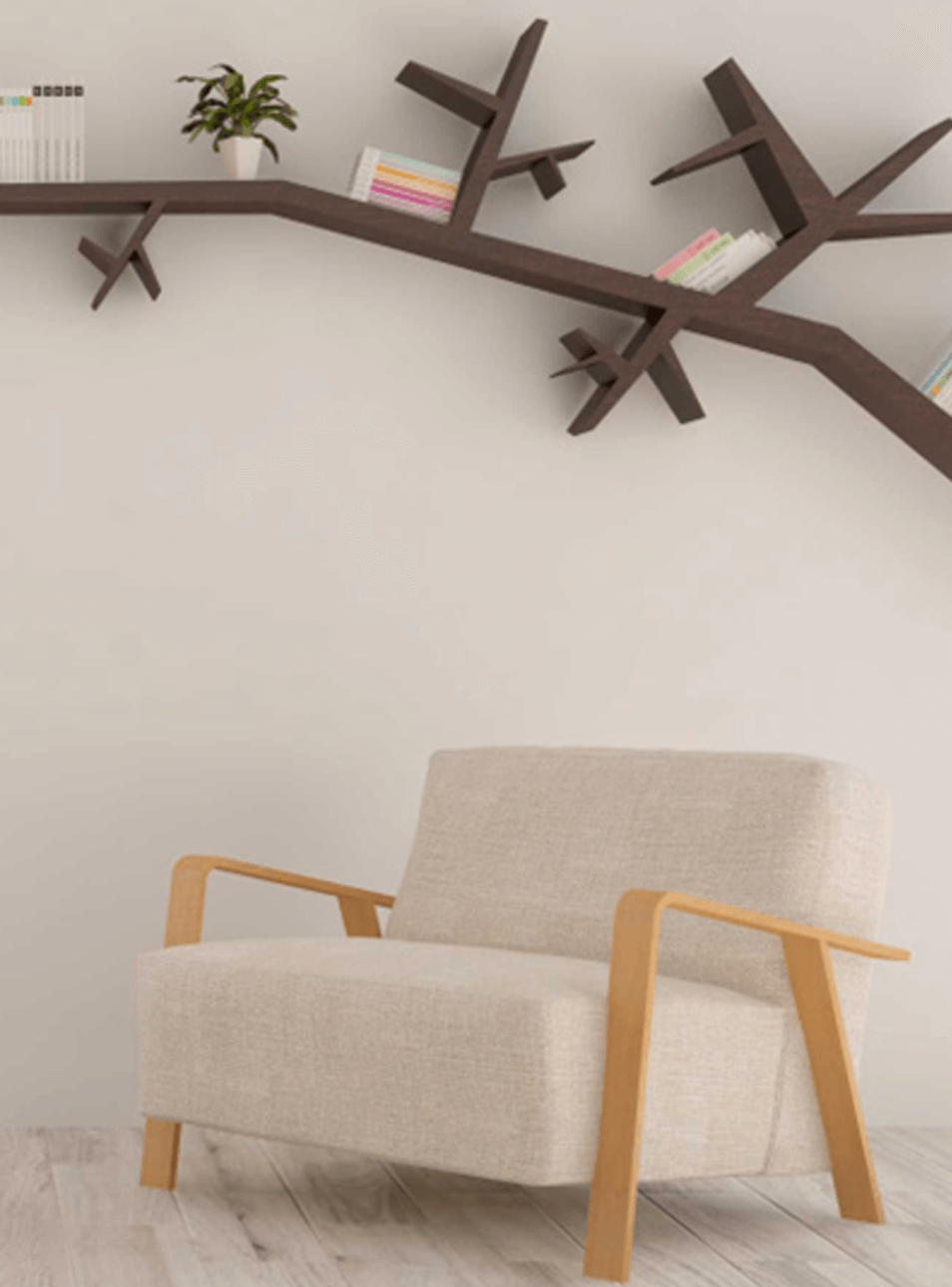 Fauteuil scandinave et étagère en bois