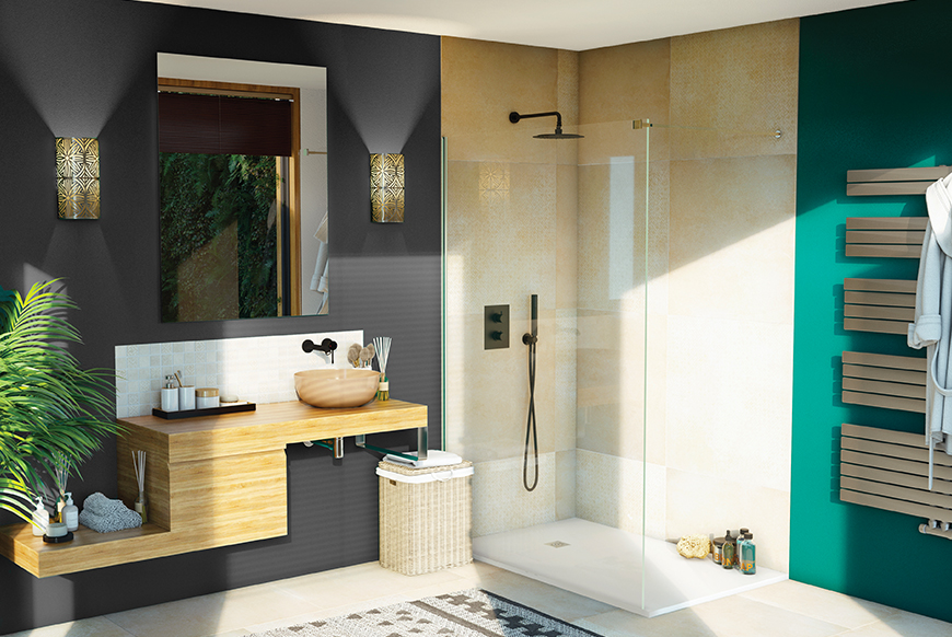 Salle de bain verte Alterna de style exotique avec meuble en bois, panier et plante verte